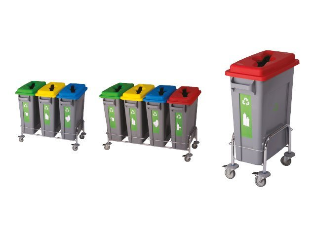 Geri Dönüşüm Kutuları R/B Ayrıştırma Kovası 4 Lü Metal Ayaklı