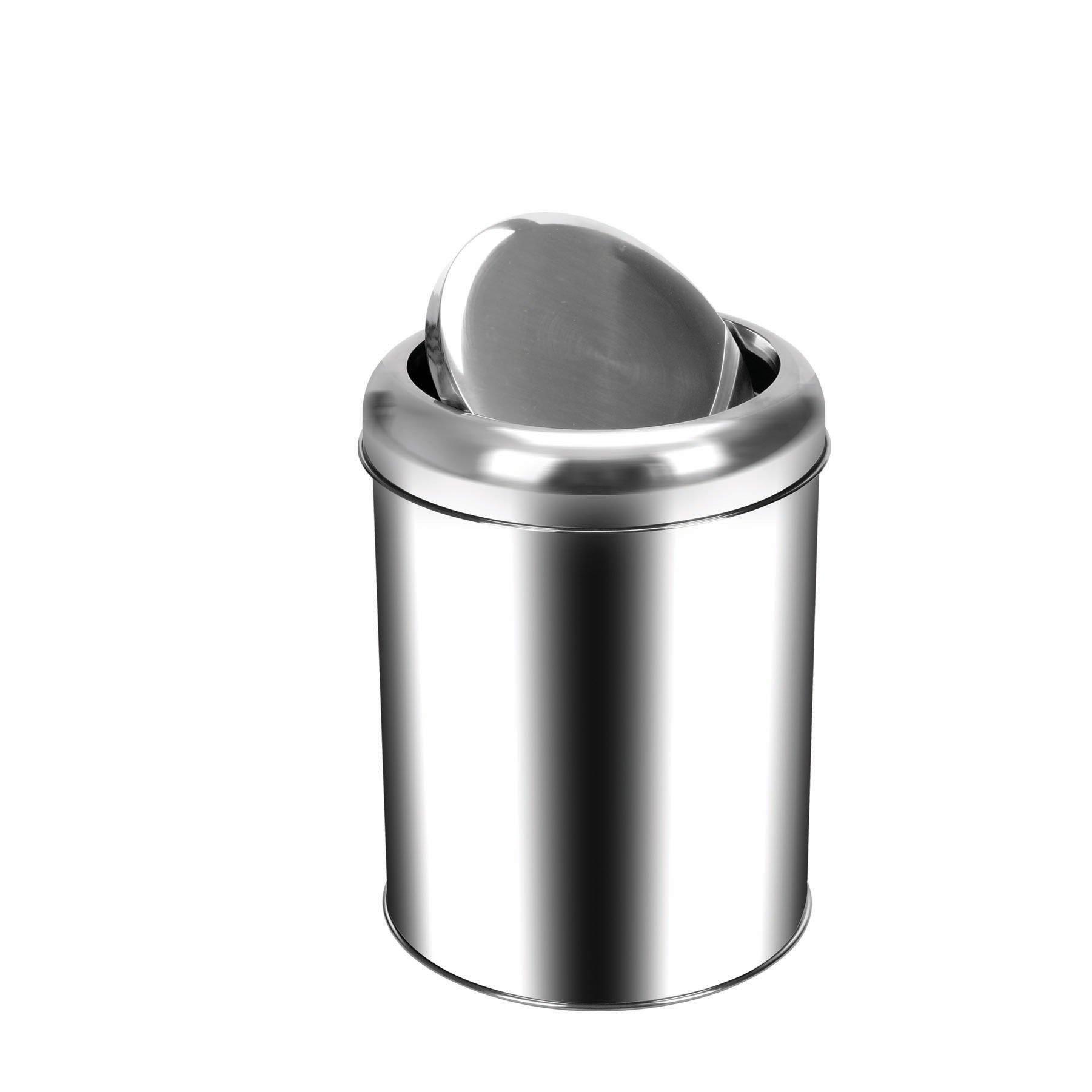 Krom Pratik Kapaklı Çöp Kovası 5Lt.
