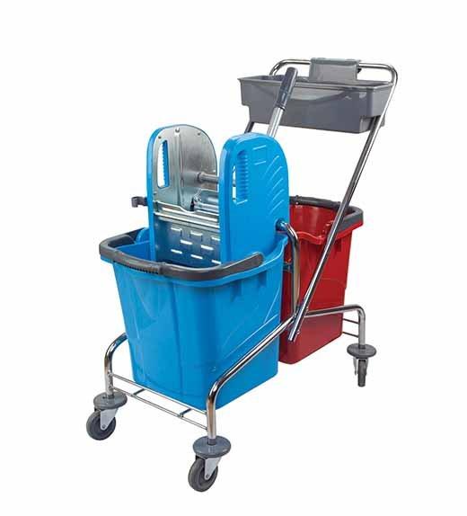 Metal Çift Kovalı Temizlik Arabası